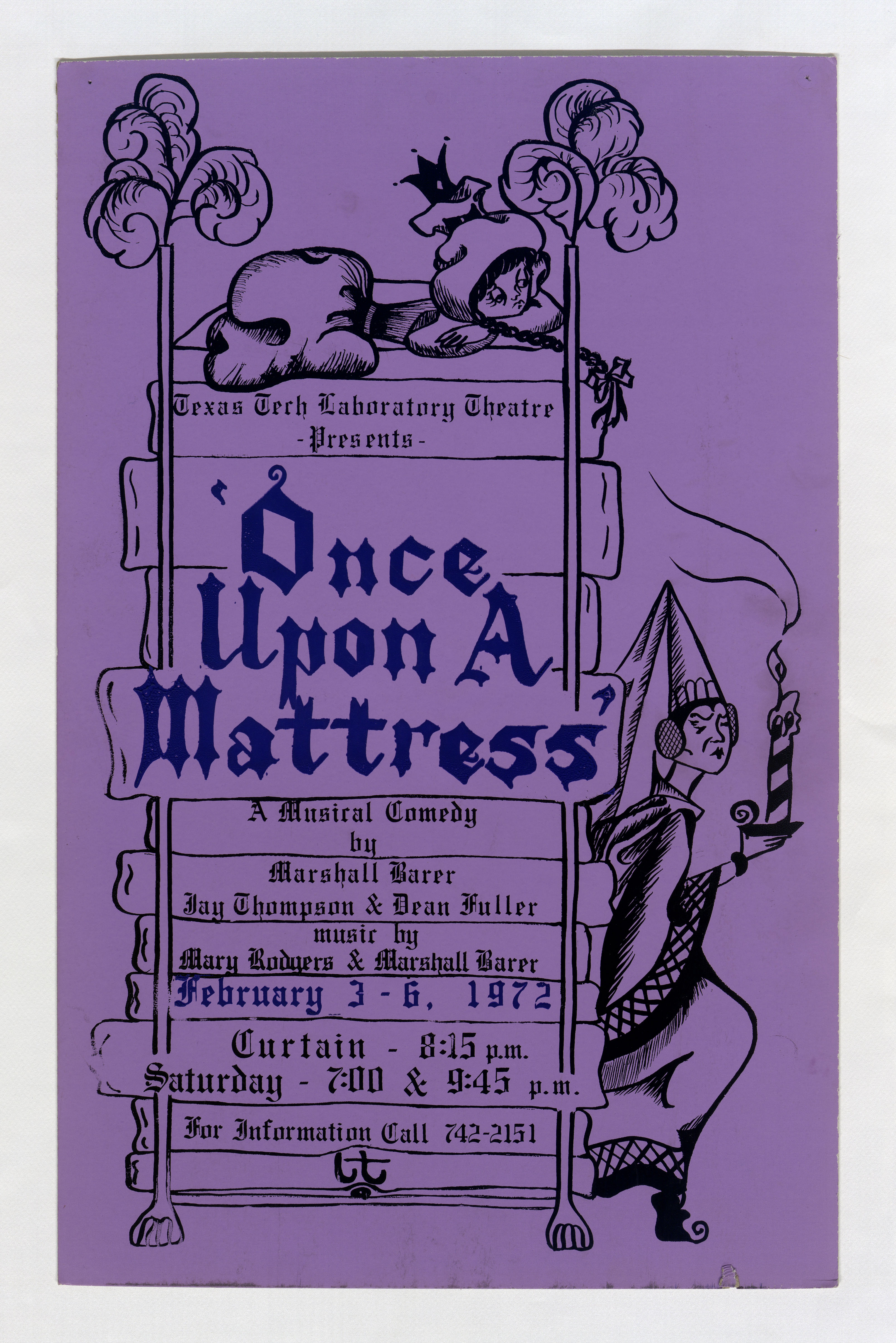 """Poster for a musical comedy """"Once Upon A Mattress"""" by Marshall Barer, Jay  Thompson, Dean Fuller, & Mary Rodgers"""