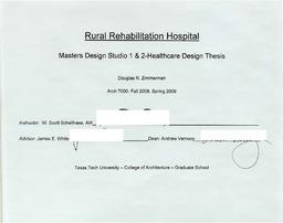 Rural rehabilitation hospital: Master design studio 1 & 2-healthcare